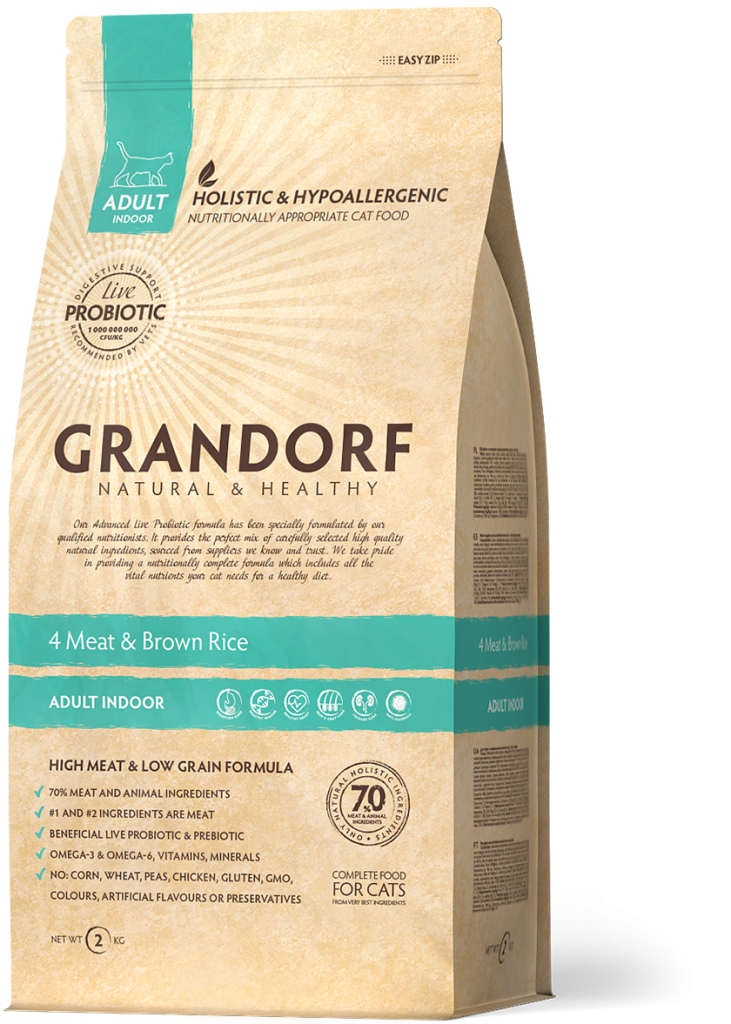 Grandorf Kattenvoeding 4 Meat en bruine rijst 400g – Indoor