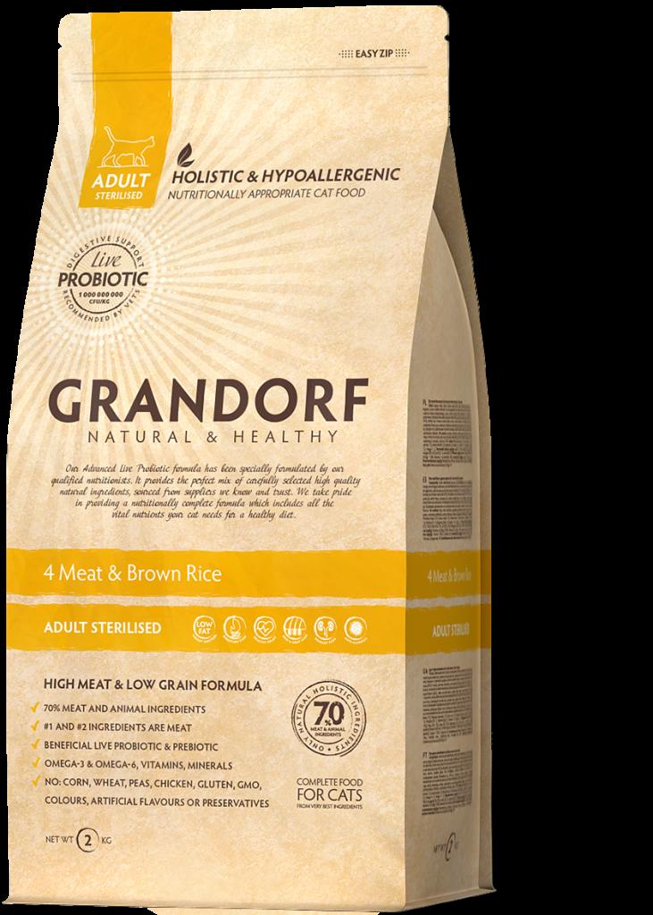 Grandorf kattenvoeding 4 Meat en Bruine rijst 400 g - Gesteriliseerd