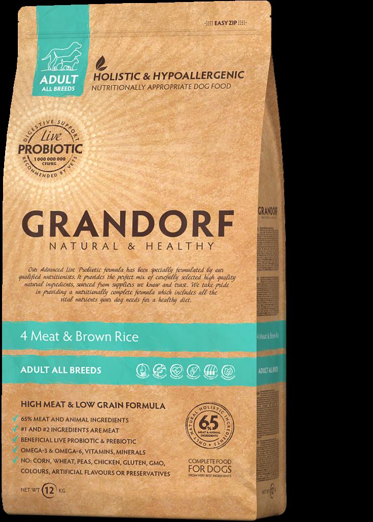 Grandorf hondenvoeding 4 Meat en Bruine rijst 1 kg – Volwassenen. Alle rassen.