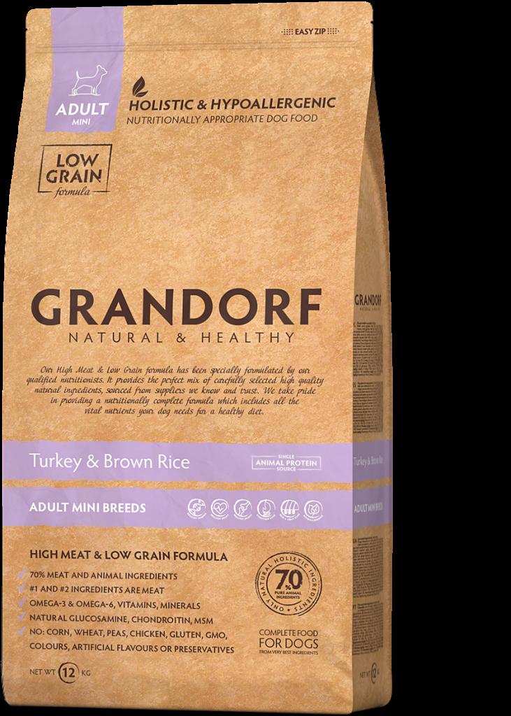 Grandorf Hondenvoeding Kalkoen & Bruine rijst 1kg – Volwassen Mini rassen