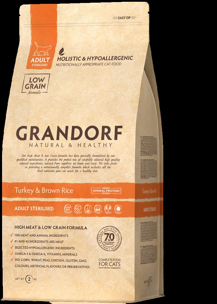 Grandorf Kattenvoeding Kalkoen & Bruine Rijst 400g – Gesteriliseerd